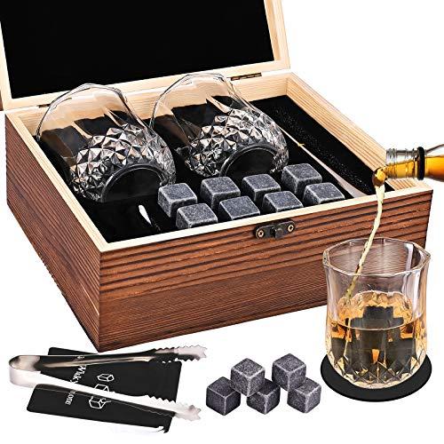 GOLDGE - Set regalo pietra per whisky, 8 pietre refrigeranti in granito nero lucido, FDA-viti, 2 bicchieri da whisky e pinzette da Barman & Deluxe in cofanetto in legno