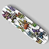puiuoo Angel Wings Doodle Style Longboard Skateboard Boys and Girls Beginners Professional Adult Road Brush Street Maple Boards Four-Wheel Outdoor Sports Skateboard 31 x8-Color_8_White