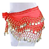 Lauthen.S 128 Coins Belly Dance Hip Scarf Tribal Belt Halloween Genie Costume Accessory Red
