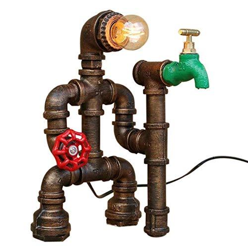 QPLKL Lámpara Lámparas de Hierro Industria de Tubos, Retro Robot de Hierro Oxidado lámpara de Mesa de café de la Oficina de Barras Grifo Lámpara de Escritorio