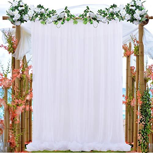 NSSONBEN 1PCS Tüll Hintergrund Vorhängig, Reine Weiß für Hochzeiten, Geburtstage, Party, Fotowände Etc, 150CM*215CM