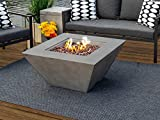 34' Outdoor Propane Gas Fire Pit Table Square Bowl in Gray