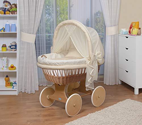 WALDIN Cuna Moisés, carretilla portabebés XXL, 44 colores a elegir,Madera/ruedas naturales sin tratamiento,color textil beige/amarillo/a cuadros