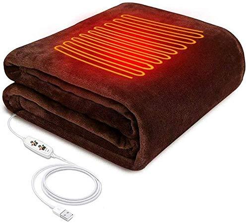 HUIQ - Manta calefactable para Envolver Chal, Poncho, Almohadilla térmica eléctrica Recargable por USB para Espalda y Hombros, Manta de Franela de Felpa para Coche, Oficina, Viajes en casa,