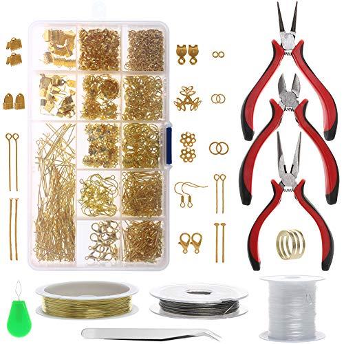 Yizunnu Starter-Set zur Schmuckherstellung, Reparaturwerkzeug-Set, Basteln gold