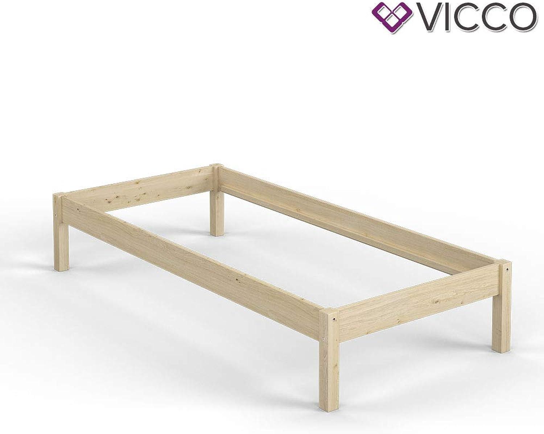 Vicco Futonbett Bali Holzbett 90x200cm   140x200cm Kiefer Doppelbett Bettgestell Massivholz (90x200 + Lattenrost + Matratze)