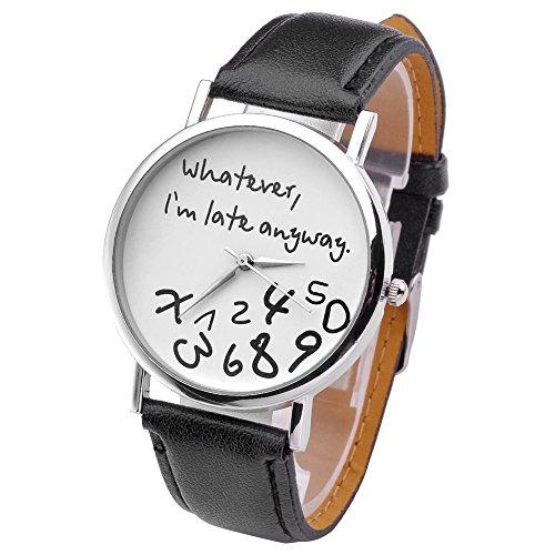 "JSDDE orologio da polso, Vintage ""Whatever, I'm late anyway"