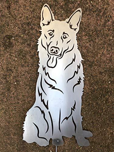 Terma Stahldesign Deutscher Schäferhund höhe 30 cm, Edelrost Hund, Gartenfigur Hund, Rostfigur, Rost Figur