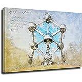 Atomium Brüssel Aquarell Retro-Reise-Poster, dekoratives