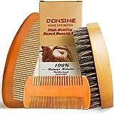 Beard Brush and Comb 3 Pcs Grooming Kit for Men's Care -Boars Bristle Brush and Pear Wood -Beard...