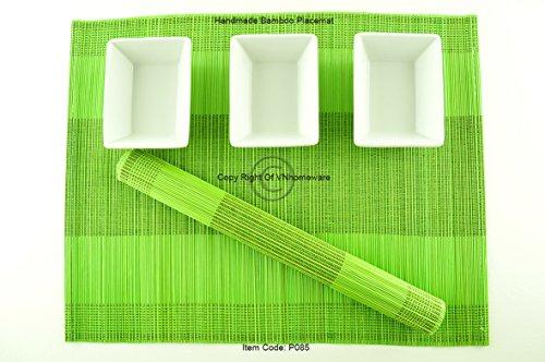 4 faite à la main en bambou Sets de table, sets de table, Lot de 4, Citron vert, P085
