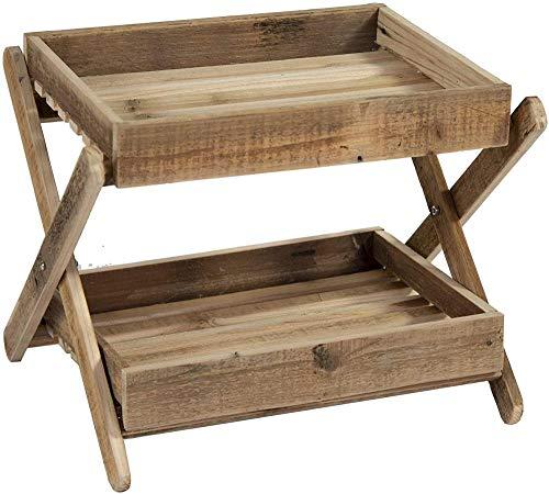 Vintage Retro Reclaimed Wood Wooden Folding 2 Tier Display Storage Side Table