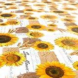ANRO Tischdecke Wachstischdecke Wachstuch Wachstuchtischdecke Sonnenblumen Sommer Weizen Gelb 180 x 140cm - 5