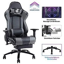 KILLABEE gaming chair massage lumbar cushion retractable footrest