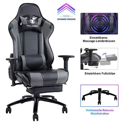 KILLABEE Gaming Stuhl Verstellbares Massage Lendenkissen Einziehbare Fußstütze, verstellbare...