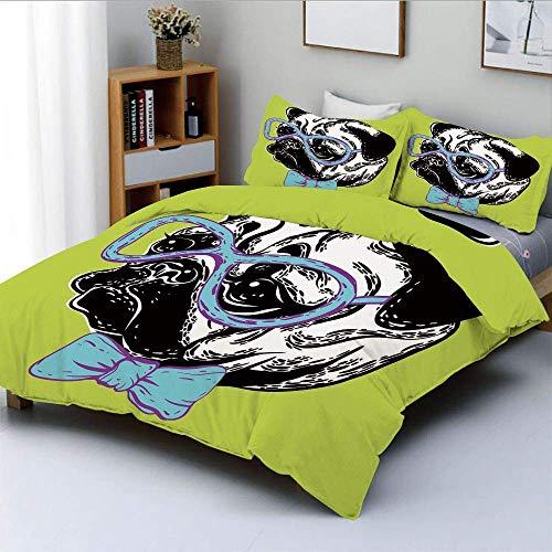 Juego de funda nórdica, lindo perro con pajarita y gafas nerd sobre fondo amarillo, divertida imagen de cómic decorativo, juego de cama de 3 piezas con 2 fundas de almohada, amarillo, azul, negro, Bes
