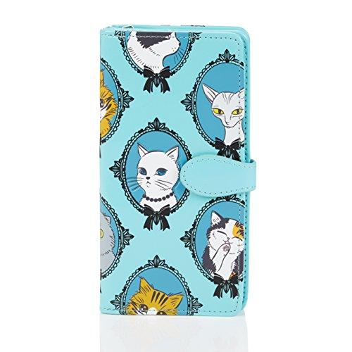 Shagwear ® Portemonnaie Geldbörse Damen Geldbeutel Mädchen Bifold Mehrfarbig Portmonee Designs: (Kater/Cat Cameo)