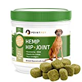 POINTPET Hemp Hip and Joint Supplement for Dogs with Organic Hemp Seeds and Oil, Best Dog Glucosamine, Chondroitin, MSM, Omega 3, 6, Improves Mobility, Reduces Pain and Inflammation, 90 Soft Chews