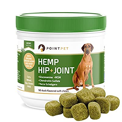 POINTPET Hemp Hip and Joint Supplement for Dogs with Organic...