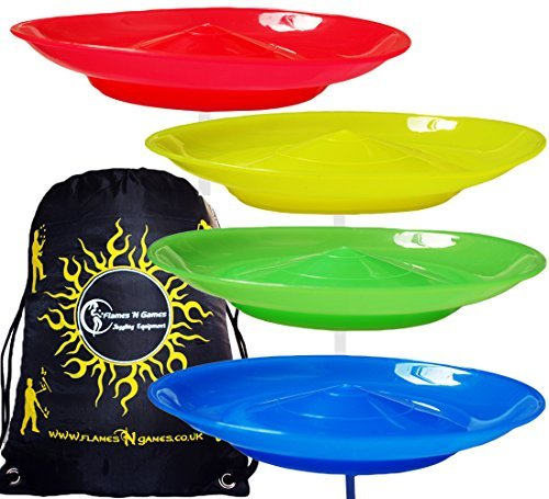 Flames 'N Games 4x Juggle Dream Spinning Plate Set (Red/Yellow/Blue/Green)...