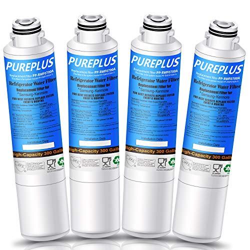 PUREPLUS DA29-00020B Replacement for Samsung RF28HMEDBSR, RF263BEAESR, HDX FMS-2, HAF-CIN/EXP, RF4287HARS, RF28HFEDBSR, DA29-00020A, RF261BEAESR, DA97-08006A, 469101 Refrigerator Water Filter, 4PACK