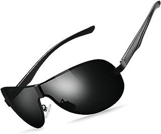 637ac02b6d461 WELUK Mens Sports Aviator Sunglasses Polarized Pilot Glasses Large Rimless  Shield Frame with Metal Temple