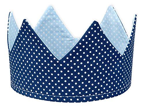 KraftKids Stoffkrone weiße Punkte auf Hellblau weiße Punkte auf Dunkelblau, stylische Geburtstags-Krone für Kinder mit Klettverschluss, beidseitig mit Muster verziert