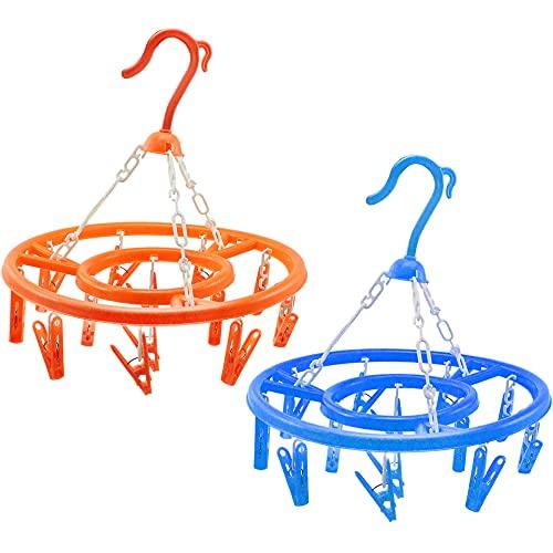com-four® 2X Hängetrockner mit 13 Klammern - Mini Wäschespinne zum Aufhängen - Wäschetrockner für Socken und Kleinteile [Auswahl varriiert] (orange/blau)