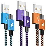 J Jecent Lot de 3 câbles micro USB 1,8 m en nylon tressé durable synchronisation et charge rapide...