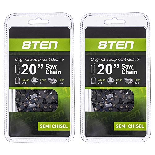 8TEN Chainsaw Chain for Stihl MS290 MS362 MS650 MS271 MS260 039 MS310 MS390 20 inch .064 Gauge .325 Pitch 81DL 2 Pack