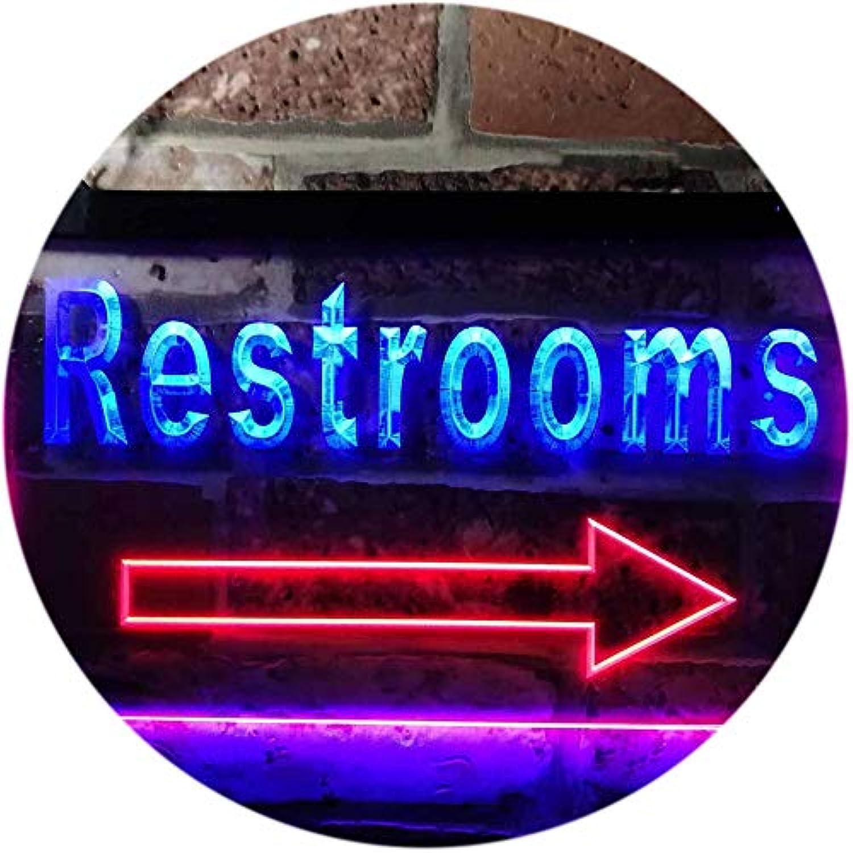 ADVPRO Restroom Arrow Toilet Display Dual Farbe LED Barlicht Neonlicht Lichtwerbung Neon Sign Blau & rot 400mm x 300mm st6s43-m0049-br