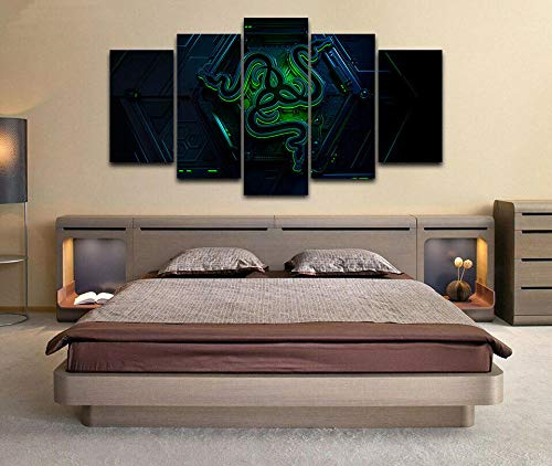 YUANJUN 3D Leinwanddrucke,Modulare Wandkunst Wandaufkleber,5 Teiliges Wandbild,Mit Rahmen,Größe 150 X 80 cm Leinwandbild, Wandbilder XXL Razer Games Pc Gamer Poster 5 Stück Leinwand