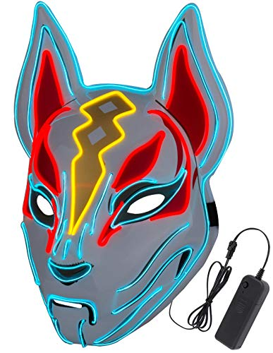 Halloween Masks - Fox Drift Mask - LED mask - Light up Mask for Halloween Cosplay Game Party Props  Mask for Man Woman Boys Girls Red White