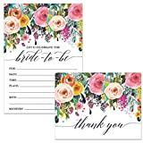 Bride-to-Be Shower Invitations (100) & Thank You Notes (100) Matching Set with Envelopes Large Celebration Wedding Party Maid of Honor Pretty Fill-in Invites & Folded Thank You Cards Best Value