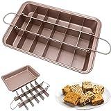 Brownie Pan con divisores, con rebanadora integrada, asegura bordes crujientes perfectos, utensilios de metal y lavavajillas (Champagne Gold)