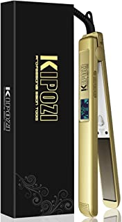 KIPOZI Hair Straightener Titanium Flat Iron 450℉ Salon High Heat Anti Frizz LCD Dual Voltage Golden