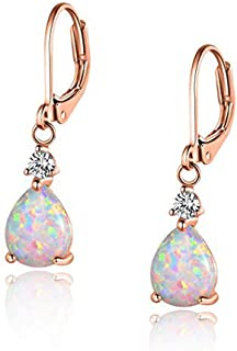 CiNily 18K White Gold/Rose Gold Plated Teardrop White Blue Opal Dangle Earrings For Women Gemstone Leverback Drop Earrings