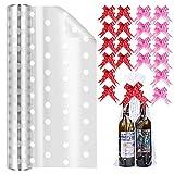 Rollo de celofán para cestas, envoltura de floristería de lunares blancos transparentes de 40 cm x 30 m con cinta de 20 lazos, papel de embalaje de regalo de San Valentín, cumpleaños y Navidad