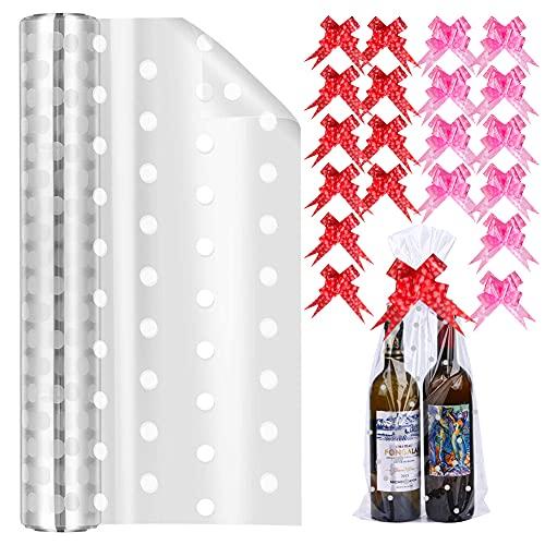 Rouleau d'emballage en cellophane pour paniers, emballage blanc transparent 40 CM * 30 M avec ruban à nœuds, papier d'emballage de Noël d'anniversaire pour sacs de nourriture de panier de cadeaux