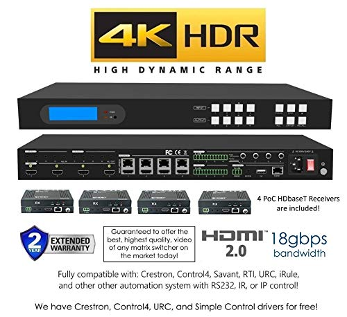 4x8 4K HDMI 4x4 Matrix SWITCHER w//Four PoC RECEIVERS HDCP2.2 HDTV Routing SELECTOR SPDIF Audio CONTROL4 Savant Home Automation CAT5e or CAT6