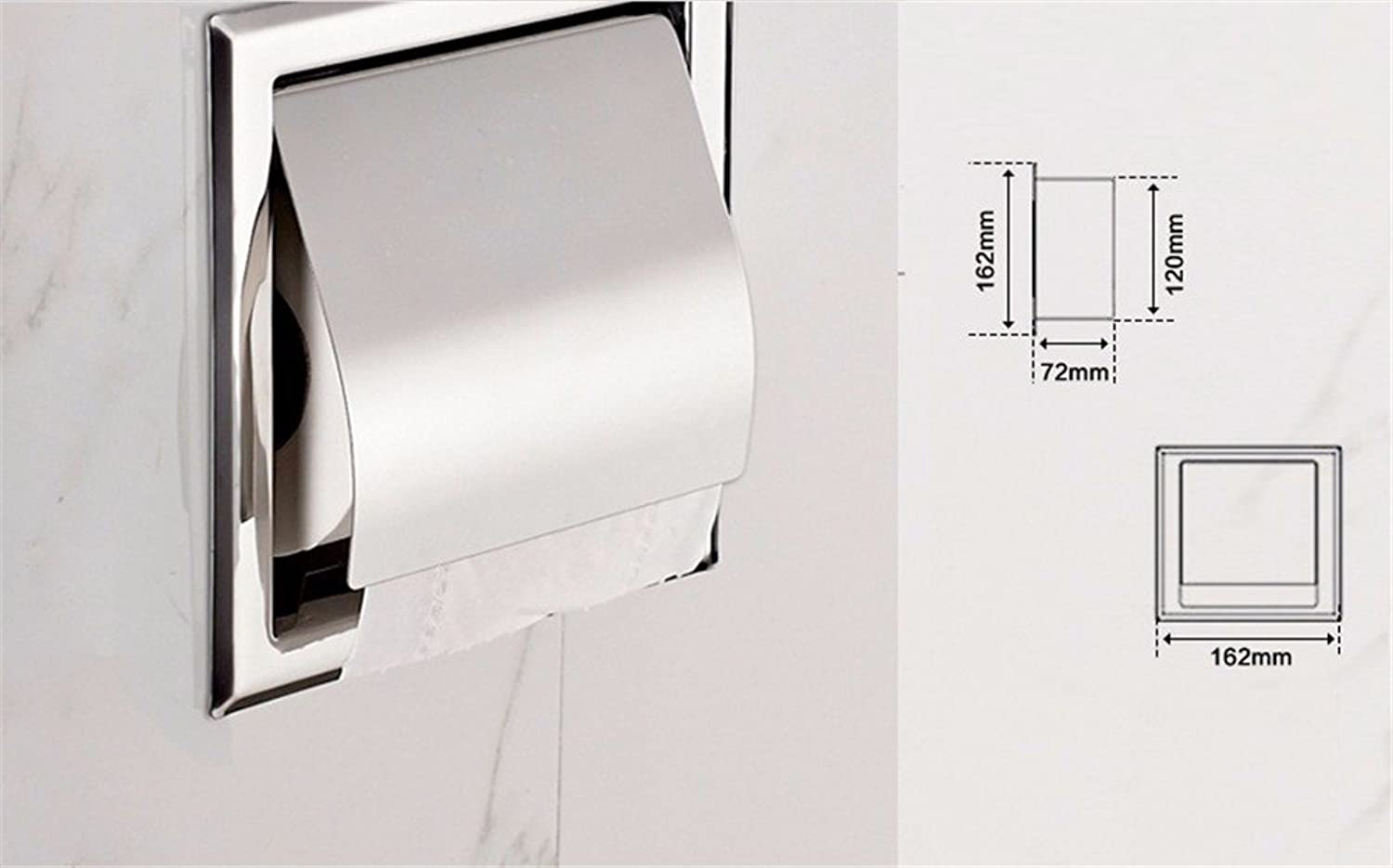 Stainless Steel Bathroom Shelf Silver polishing Wall-Mounted Paper Towel Holder Square Toilet Paper Holder,C