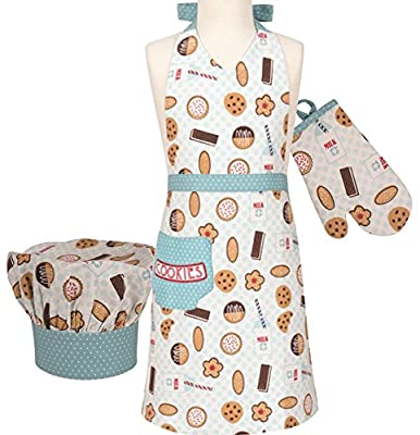 Handstand Kitchen Child's 'Milk and Cookies' 100% Cotton Apron, Mitt and Chef's Hat Set