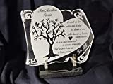 plaque funéraire personnalisée parchemin cœur arbre de vie texte au choix sur socle en marbre