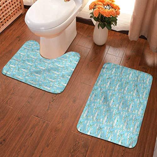 Ahuimin - Juego de 2 alfombras de baño de microfibra lavables, diseño de tiburón, criaturas marinas, antideslizante, alfombrilla de ducha de microfibra y alfombra de inodoro en forma de U, multicolor