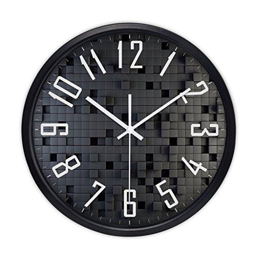 Horloges Rond Métallique Murale Quartz et Montres Balayer Les Secondes Muet Silencieux Convient pour la Chambre et Le Salon (Color : Black-A, Size : 35.5cm (14inch))