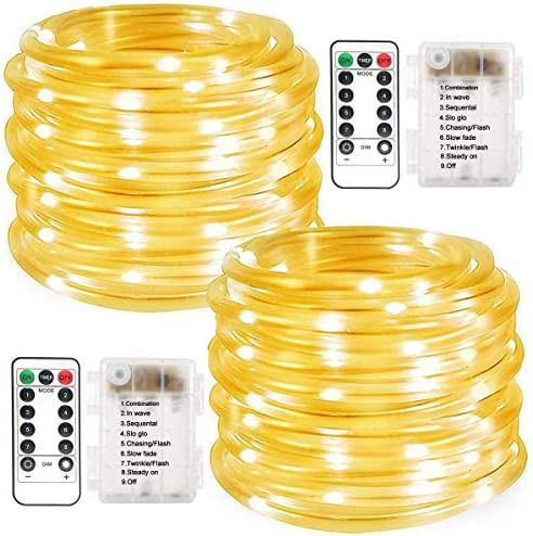 LiyuanQ Battery Operated String Lights 2 Pack 100 LED Waterproof Rope String Lights Outdoor product image