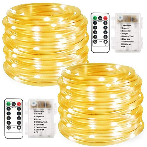 LiyuanQ Battery Operated String Lights, 2 Pack 100 LED Waterproof Rope String Lights Outdoor Fairy PVC Tube Lights 8 Modes 33FT Battery Rope Lights for Garden Party Christmas Decor (Cool White)