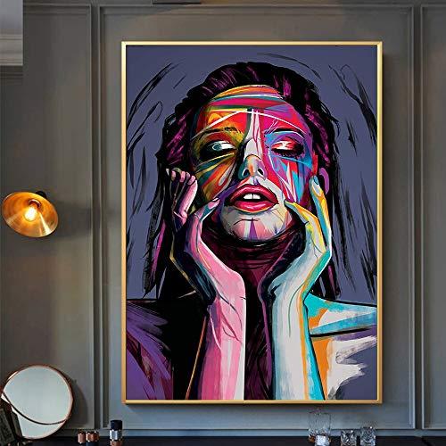 Moderno Abstracto Chica Graffiti Arte Lienzo Cartel Pintura impresión Arte de la Pared para la decoración del hogar de la Sala de Estar