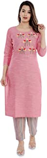 Sanganeri Kurti Womens Cotton Embroidred Kurta With Printed Pant Set (Pink)