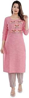 Sanganeri Kurti Womens Cotton Embroidred Kurta With Printed Pant Set (Pink)